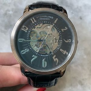 Sturhling men's leather Croc band watch
